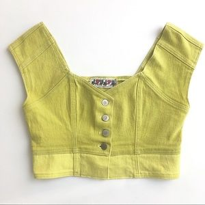 Vtg Denim Cropped Color Block Vest, Light Green.